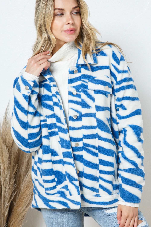 31216J<br/>Zebra Print Collared Over sized Jacket